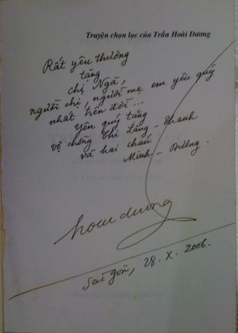 Bút tích gửi chị gái, bà Trần Thị Ngà.