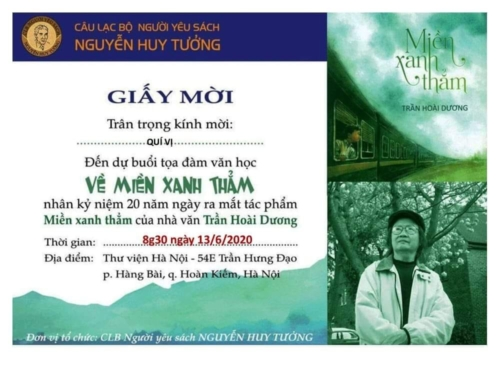"""Cuộc tọa đàm """"20 năm MIỀN XANH THẲM"""" kỷ niệm 20 năm ngày ra mắt tác phẩm """"Miền xanh thắm"""" của nhà văn Trần Hoài Dương, do Câu lạc bộ Người yêu sách Nguyễn Huy Tưởng tổ chức sáng ngày 13 tháng sáu 2020."""